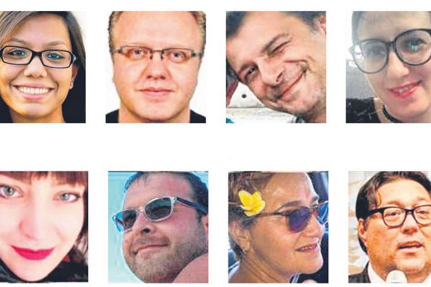 From top left: Mr Faraaz Hossain, 20, and Ms Ishrat Akhond, 45, from Bangladesh; Ms Tarishi Jain, 19, from India; and two of the seven Japanese victims, Mr Makoto Okamura, 32, and Mr Koyo Ogasawara, 56. (Centre from left): Ms Abinta Kabir, 18, a US c