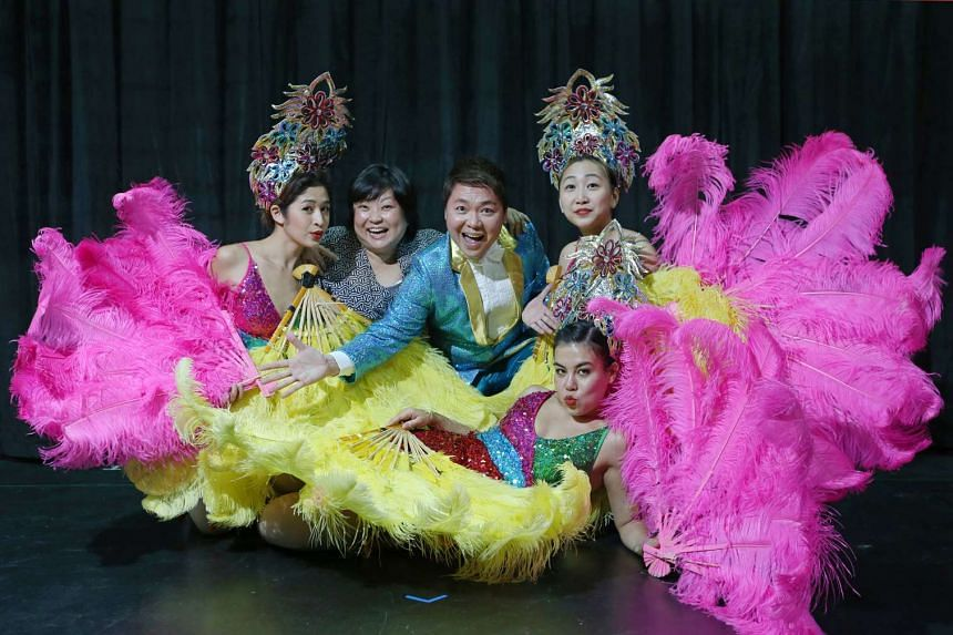 Broadway Beng's Sebastian Tan (middle) with (from far left) cast member Munah Bagharib, director Selina Tan and cast member Chriz Tong. The other cast member is Frances Lee (foreground).