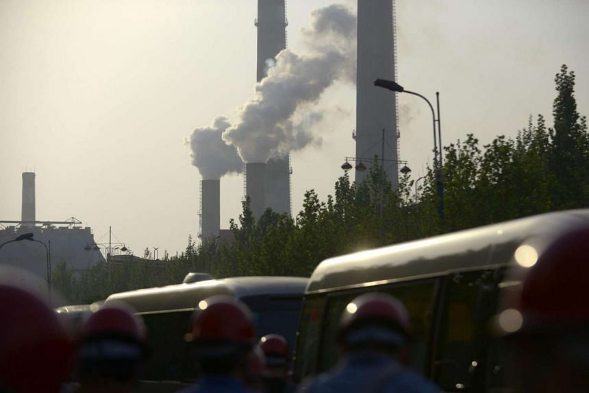 Chimneys in the Han-steel plant in Handan, in China's northern Hebei province.