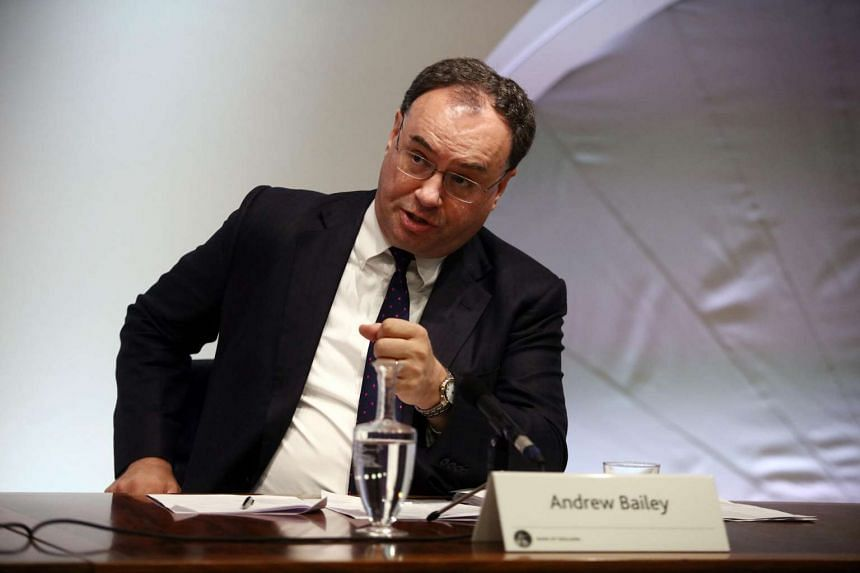 Andrew Bailey speaks during the Bank of England's financial stability report news conference in London.