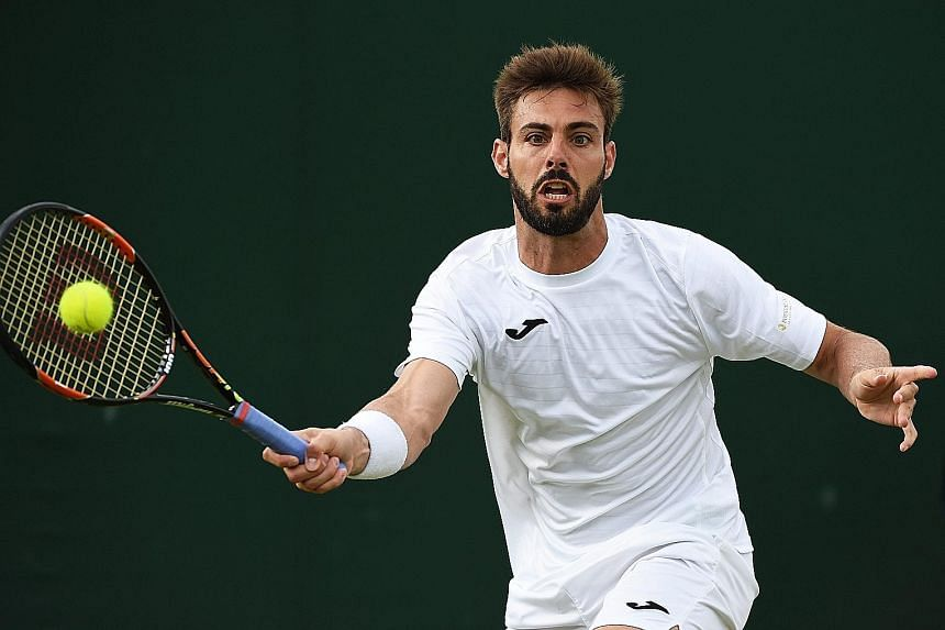 Marcel Granollers (left) and Pablo Cuevas could be fined for staging a sit-down protest in their doubles match after the umpire denied their request for a toilet break.