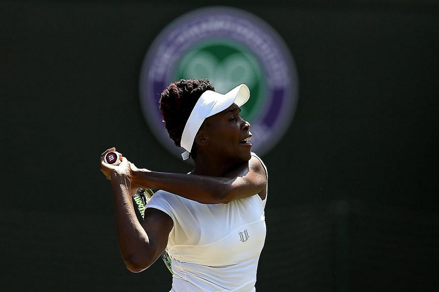Venus Williams in action during her 7-6 (7-5), 6-2 quarter-final win yesterday against Yaroslava Shvedova. Venus will face Angelique Kerber, while defending champion Serena Williams will take on first-time semi-finalist Elena Vesnina, who defeated Do