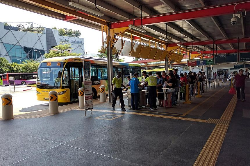 About 30 people were waiting for the CW3 Causeway Link service to Taman Bukit Indah in Johor Baru at Jurong East Bus Interchange around 4pm yesterday.