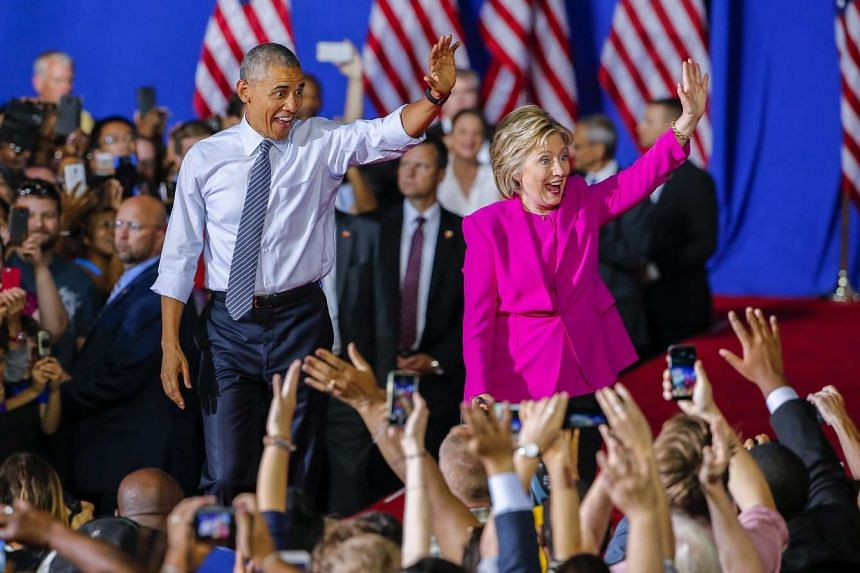 Hillary Clinton with Obama at a campaign rally in North Carolina on July 5,  2016.