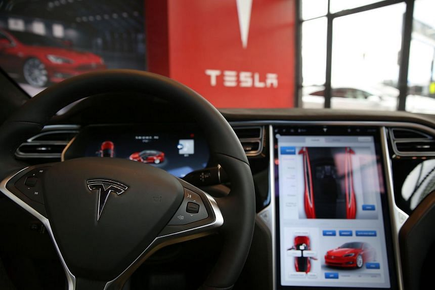 A vehicle on display at a Tesla showroom and service centre in Red Hook, Brooklyn, on July 5.