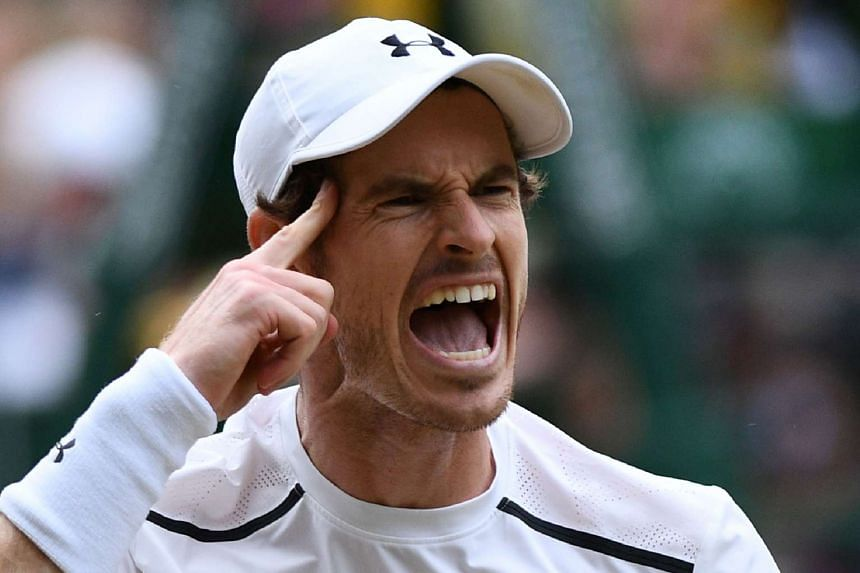 Britain's Andy Murray celebrates winning a point against France's Jo-Wilfried Tsonga.
