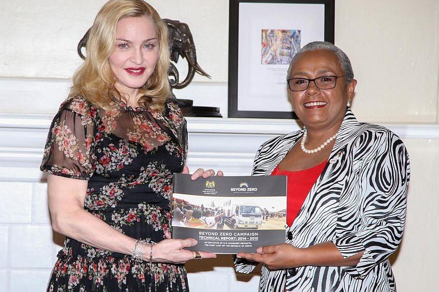 Madonna met Kenyan First Lady Margaret Kenyatta on Monday.