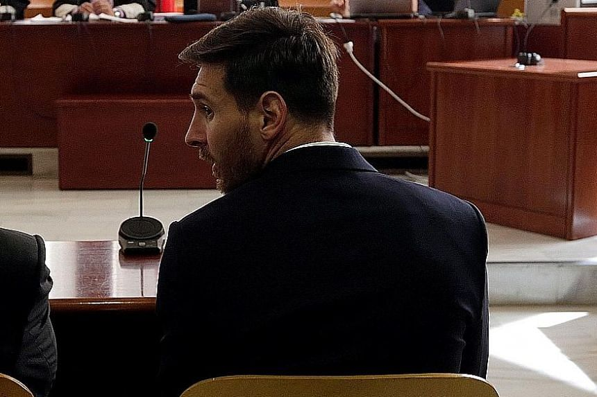 Messi in a Barcelona court on June 2 during his trial for tax fraud. The football star and his father are not expected to serve any time in jail because the prison sentences are likely to be suspended. This is common in Spain for first offences for n