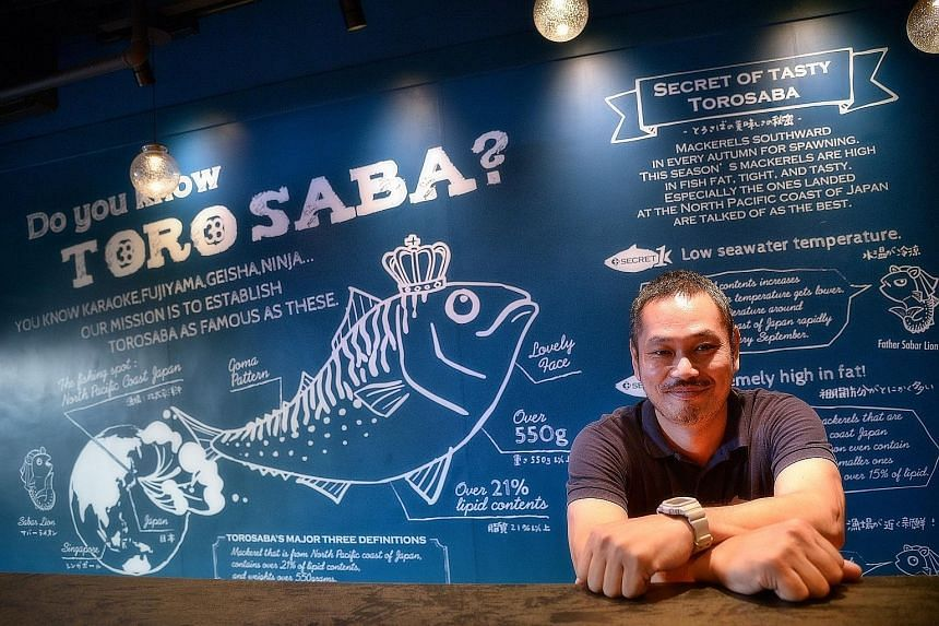 Sabar's managing director Okada Ryo plans to open three more outlets here for the brand which specialises in saba or mackerel (far right).