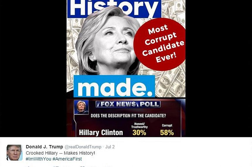 The amended image tweeted by Mr Trump. The original was viewed as anti-Semitic as it used a Star of David instead of the circle.