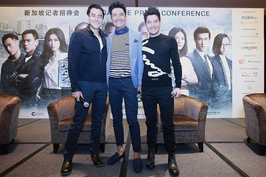 Actors of Cold War 2 (from far left) Eddie Peng, Chow Yun Fat and Aaron Kwok at the press conference on Tuesday.