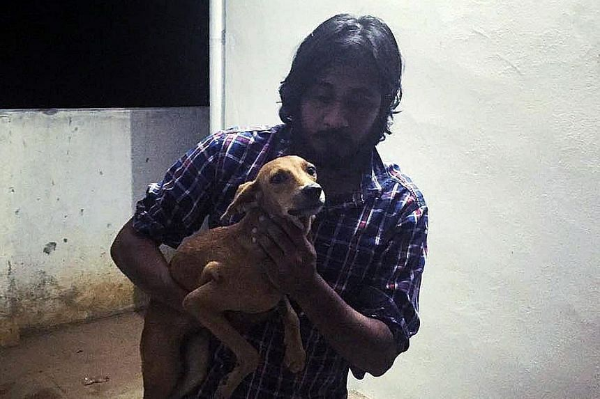 Mr Krishnan holding the dog which had been thrown off a balcony.