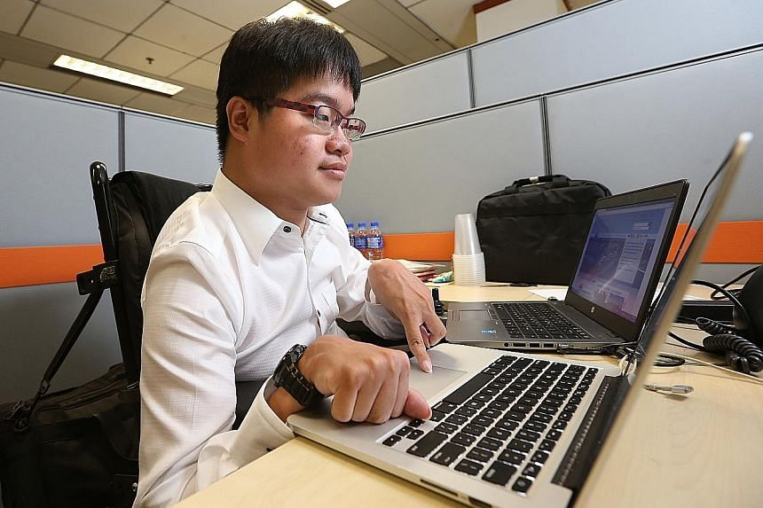 SMU economics student Alister Ong, 22, has cerebral palsy and uses a motorised wheelchair. He is an intern at the Ministry of National Development. He says his work experience has given him confidence and an idea of what to expect from working life.