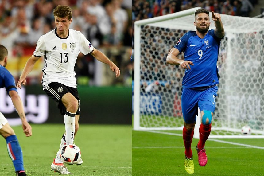Thomas Mueller (left) and Olivier Giroud will go head-to-head when France face Germany in their Euro 2016 semi-finals match.