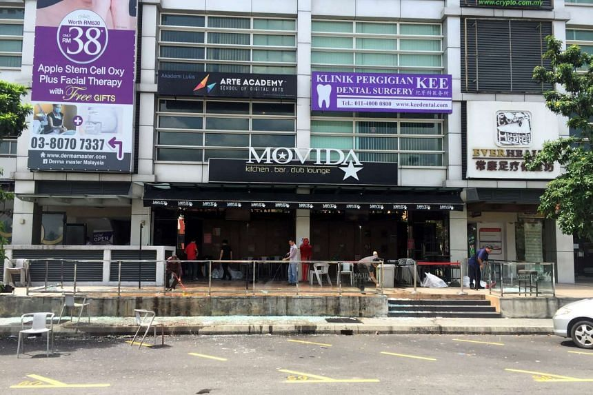 The Movida bar is pictured after a grenade attack in Puchong, on the outskirts of Kuala Lumpur, Malaysia on June 28, 2016.
