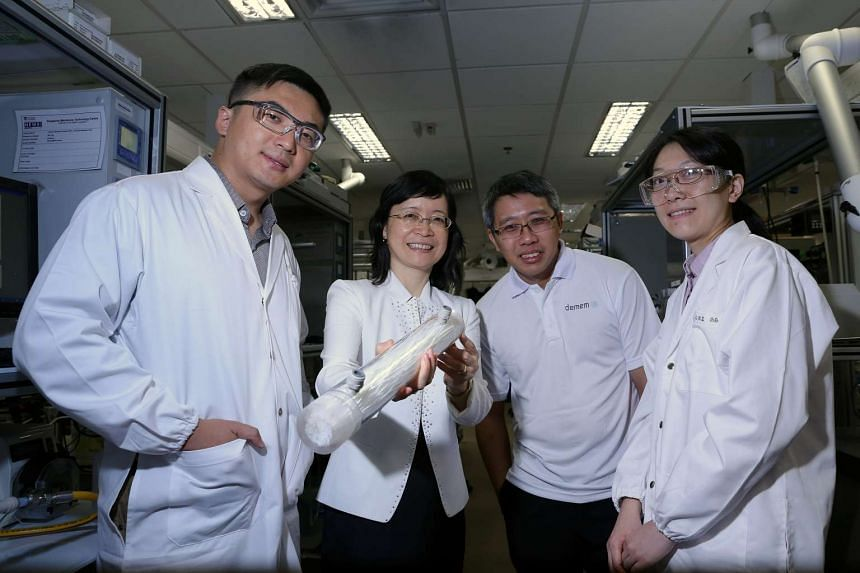(From left) Senior research fellow Shi Lei, director of Singapore Membrane Technology Centre Wang Rong, chief technology officer of De.mem Adrian Yeo, and research fellow Zhao Shan Shan with the new filter.