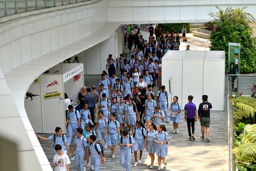 Secondary school students arrive at ITE College Central for the biennial WorldSkills Singapore (WSS) 2016 competition on July 7, 2016.
