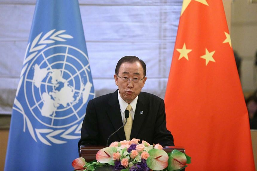 UN Secretary-General Ban Ki Moon speaks during a joint press conference at the Diaoyutai State Guesthouse in Beijing on July 7, 2016.