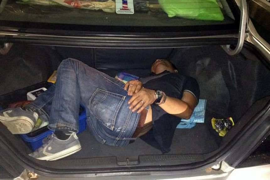 Sofyan Soeb (pictured) tried to sneak out of Singapore by hiding in the boot of a car on May 21.