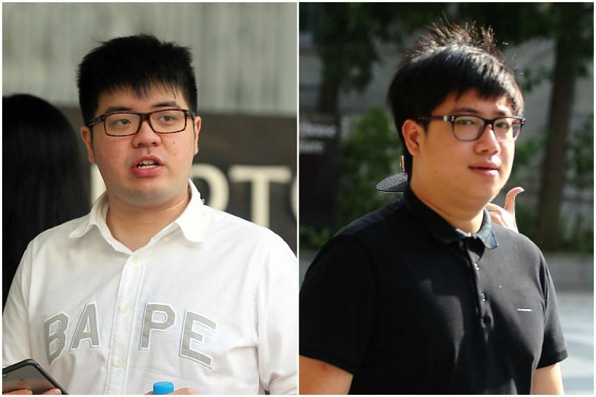Gordon Tan Zhi Liang (left) and Ryujin Tan were jailed for three weeks, fined $6,600 and banned from driving for 18 months.