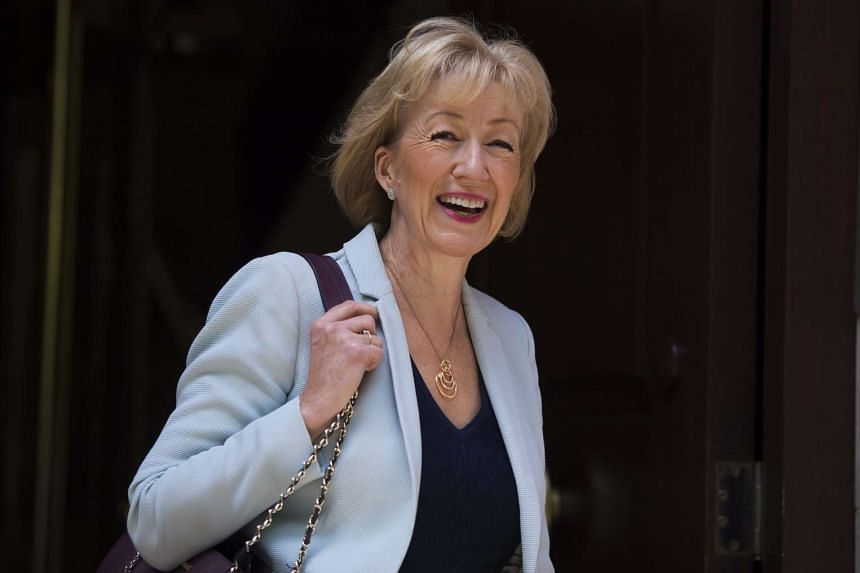 British MP Andrea Leadsom leaves Millbank Studios after giving TV interviews in London on July 7, 2016.