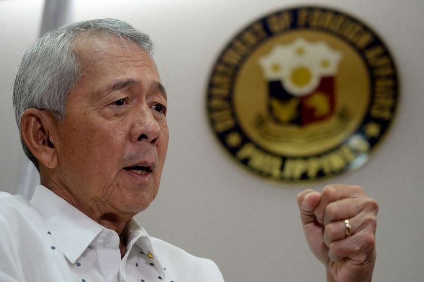 Philippine Foreign Secretary Perfecto Yasay gestures during an interview in Manila, on July 8, 2016.
