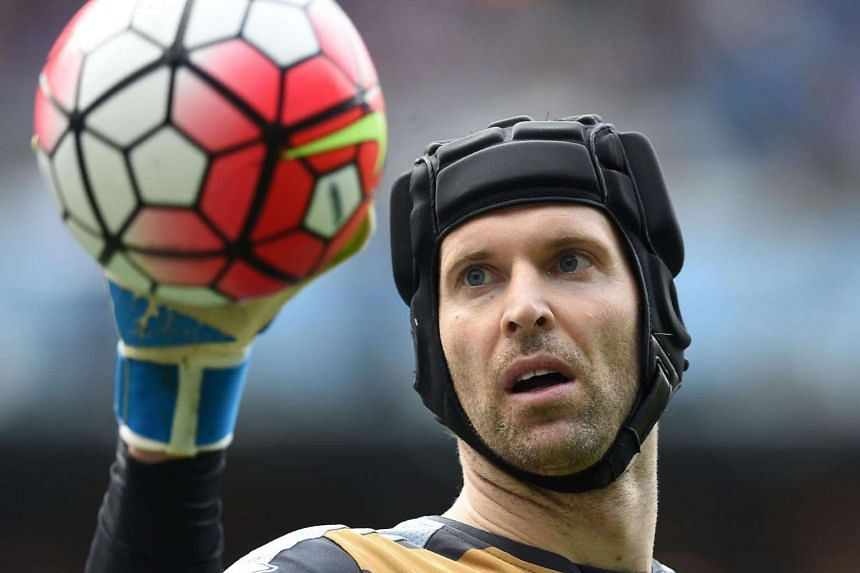 Czech goalkeeper Petr Cech holding the ball during the EPL football match between Manchester City and Arsenal in Manchester, on May 8, 2016.