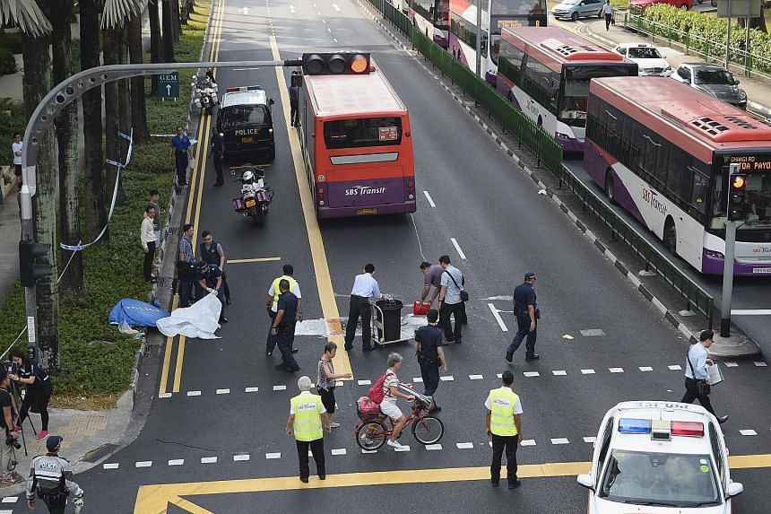 The accident scene being cleared yesterday. A man in his 60s was run over by a bus outside the Toa Payoh interchange early in the morning. Paramedics pronounced him dead at the scene, said SCDF, which was alerted at 6.20am.