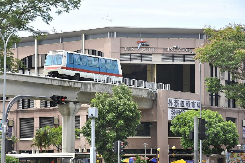 A train at Ten Mile Junction on the Bukit Panjang LRT line. The entire first batch of 19 US-made Bombardier trains, which arrived in 1999, developed cracks during their service here.
