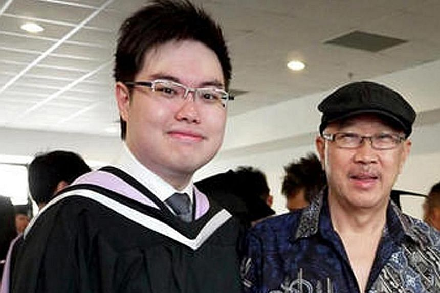 Left: Tan, who faces a charge of culpable homicide, is said to have put his father in a headlock and chokehold over an argument last year. The latter died an hour after being taken to hospital. Above: Tan with his father in happier times.