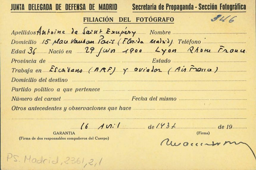 The press card used by Antoine de Saint-Exupery during the Spanish Civil War was found on June 30, 2016 at the Centro Documental de la Memoria Historica of Salamanca.