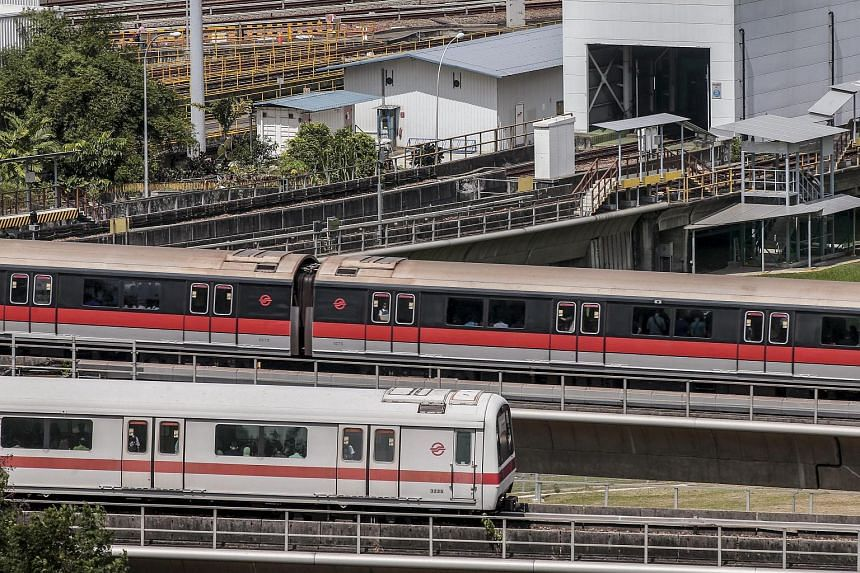 Two passenger trains operated by SMRT pass by the Bishan train depot on July 7.