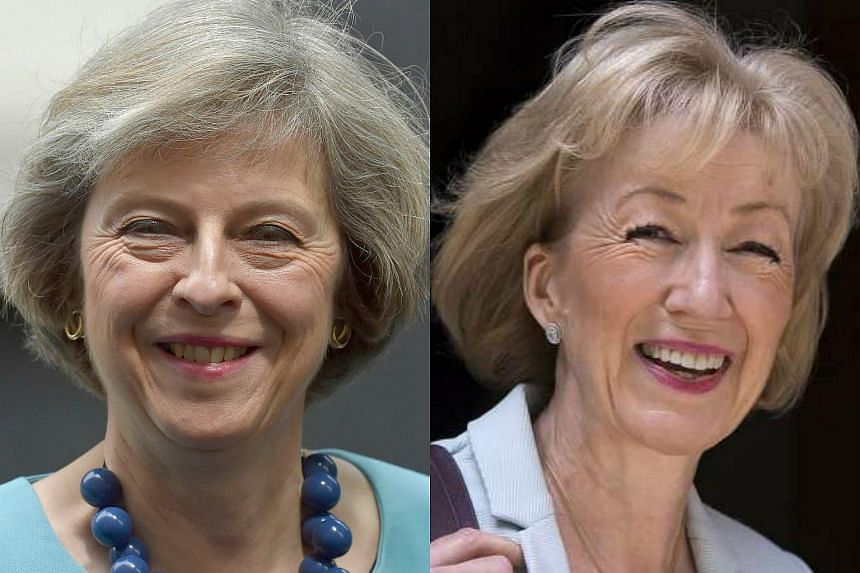 Britain's home secretary Theresa May (left) is the frontrunner to succeed PM David Cameron. Minister of state for energy Andrea Leadsom (right) has beaten justice secretary Michael Gove to the final two in the race for UK's Tory leadership.