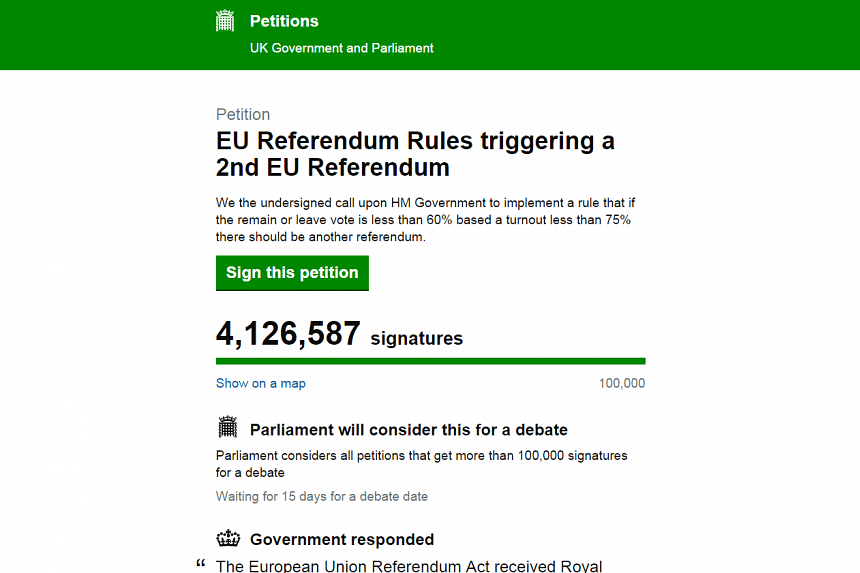 The British government formally rejected a petition signed by more than 4.125 million people calling for a second referendum on Britain's membership of the EU.