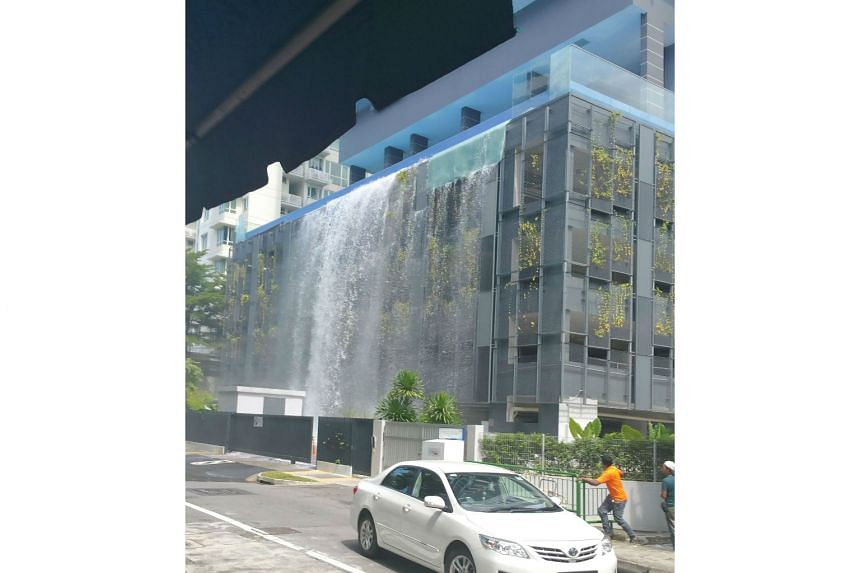 The glass panels on the outside of the infinity pool wall at Cradels condo in Whampoa fell from the fifth floor yesterday afternoon, sending water gushing down below. There were no reports of injury.