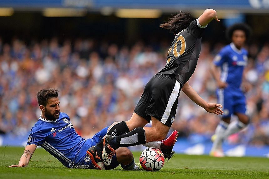 Cesc Fabregas tackling Leicester's Shinji Okazaki during the final Premier League match last season. The Spaniard will need to show he can take on more battles in midfield if he is to win the fight to be a regular for new Chelsea manager Antonio Cont