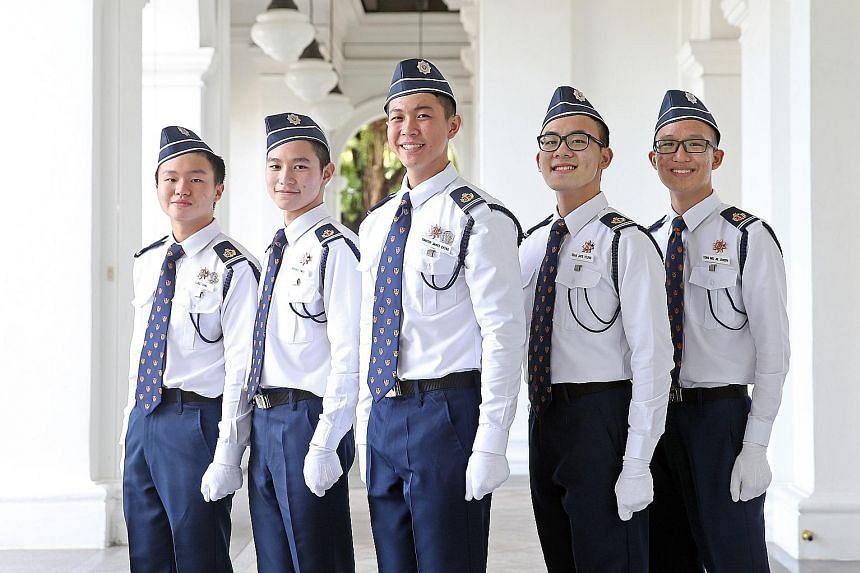 The recipients are (from left) Senior Cadet Lieutenants Luke Chng, Jeffrey Gwee, Timothy James Chong, Seah Jaye Young and Joseph Tong. The award is given to candidates who emerged top in the Boys' Brigade Primers Programme, which is for those aged be