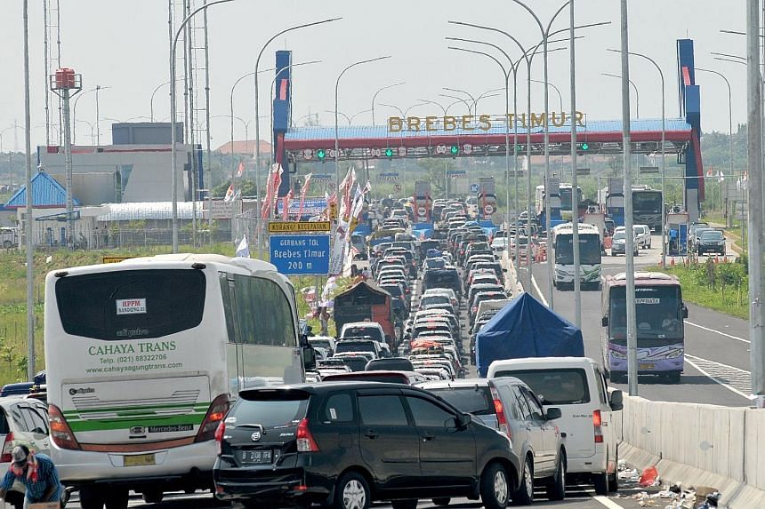 """The """"horror traffic"""" at the Brebes highway stretched for more than 20km. Heavy traffic near the end of Ramadan is not uncommon, as millions of people head home to celebrate."""