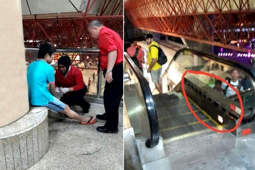 A piece of metal that got dislodged from an escalator at Jurong East MRT station caused commuters to flee in panic at about after 9pm on March 5, 2016.