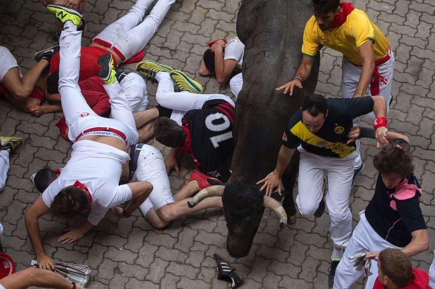 Participants fall as a fighting bull runs over them at the San Fermin festival in Pamplona, on July 9, 2016.