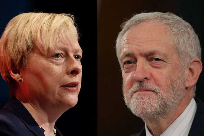 Angela Eagle (left) announced on July 9, 2016, that she would stand against Jeremy Corbyn for the UK's Labour Party leadership.