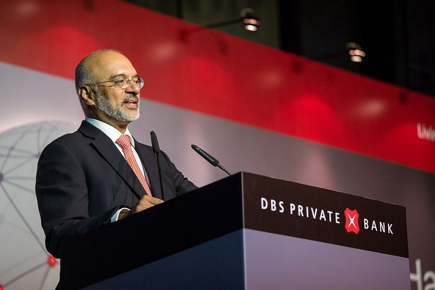 DBS Group chief executive Piyush Gupta presenting the bank's outlook for the second half of 2016 at a client luncheon on July 8, 2016.