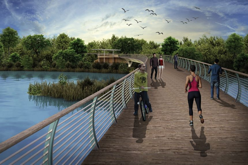 An artist's impression of Sengkang Riverside Park, which will feature a cycling bridge.