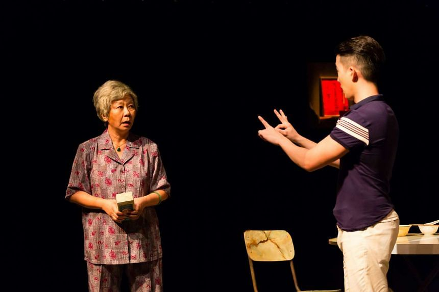Jalyn Han and Tan Shou Chen in Grandmother Tongue at the Singapore Theatre Festival.