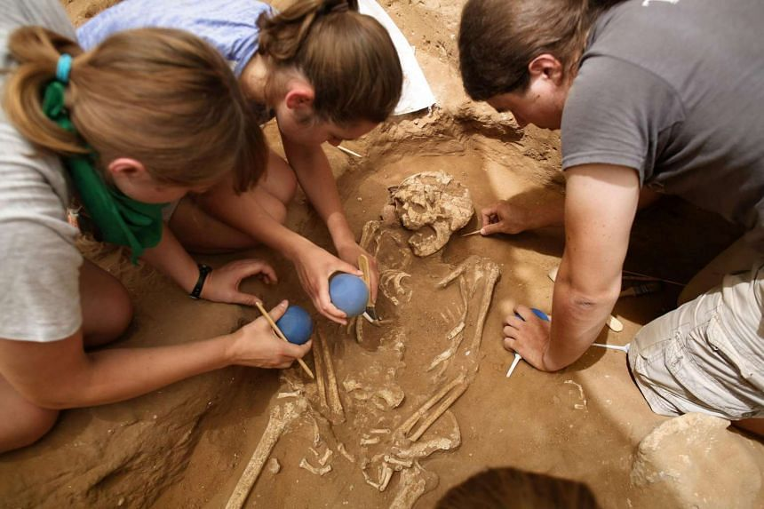 Archaeologists working on a skeleton at an excavation site of the first Philistine cemetery ever found, on June 28, 2016.