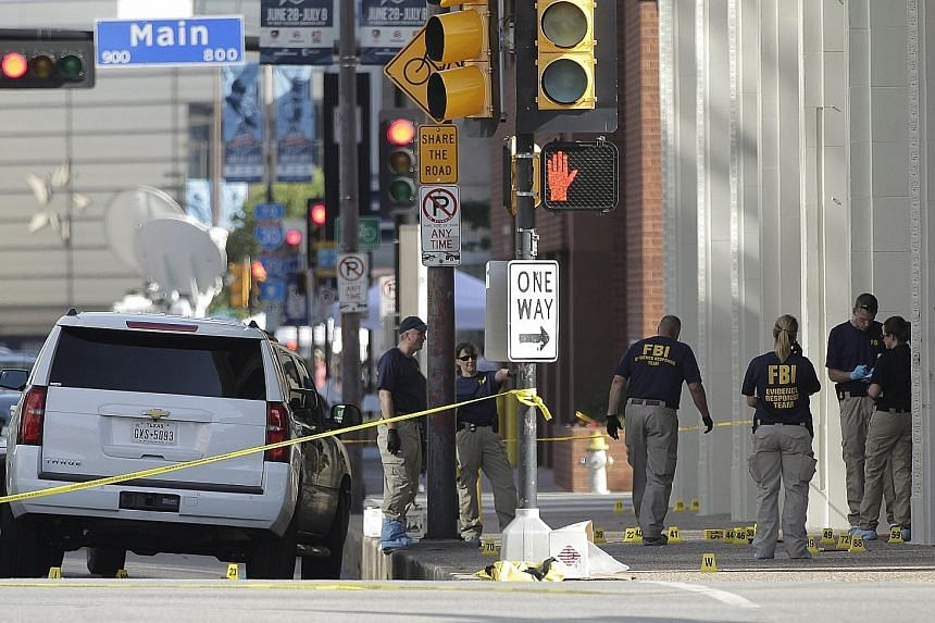 FBI investigators searching the scene (right), where 12 police officers were shot in Dallas, Texas. The gunman was 25-year-old Micah Johnson (left), a US Army veteran who is believed to have been angry about the recent police shootings of black men.