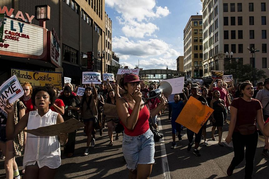 Activists protest the death of Philando Castile on July 8 in downtown Minneapolis, Minnesota.