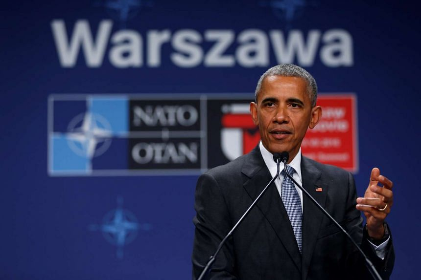 US President Barack Obama holds a news conference after participating in the NATO Summit in Warsaw, Poland on Saturday.