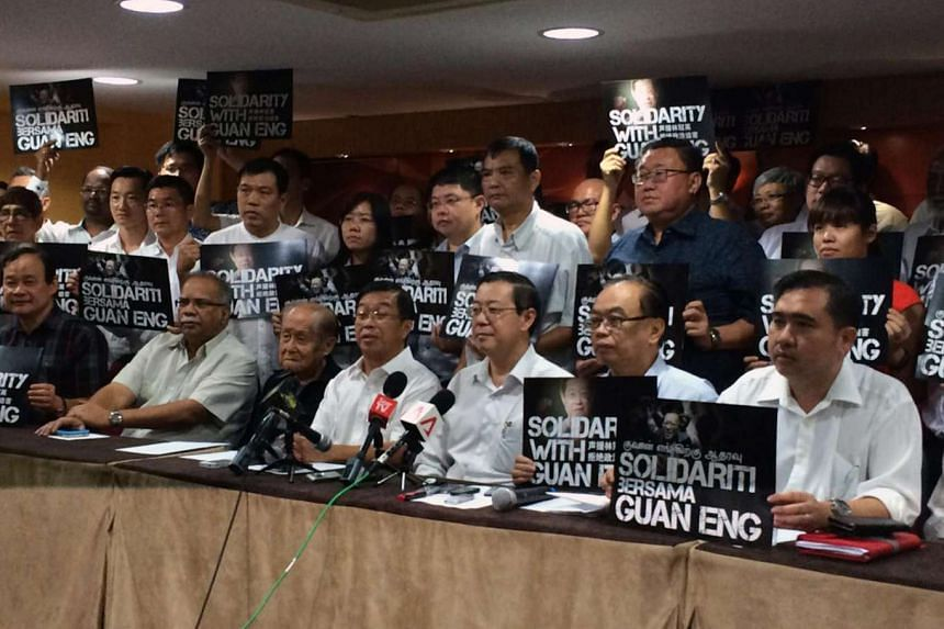 Democratic Action Party (DAP) leaders, together with secretary- general Lim Guan Eng (front row, third from right), at their leadership meeting on July 1, 2016.