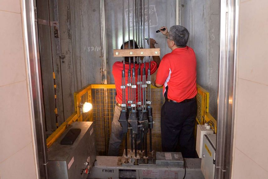 BCA engineers perform safety checks on a lift's main rope to ensure that suspension ropes do not break and move together with the wheel of the lift machine.
